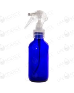 4 oz Blue Glass Bottle With Trigger Sprayer (4-pack)
