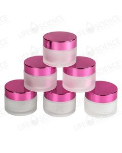 Frosted Jars with Pink Lids (6 Pack)