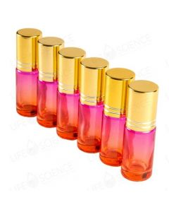 5 ml Faded Pink to Red Glass Bottle with Steel Roll-On with Gold Lid (6 Pack)