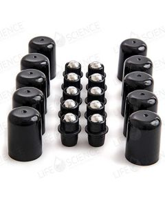 Plastic with Steel Roll-on Replacements for 5 , 15 and 30 ml Bottles with Lids (10-Pack)